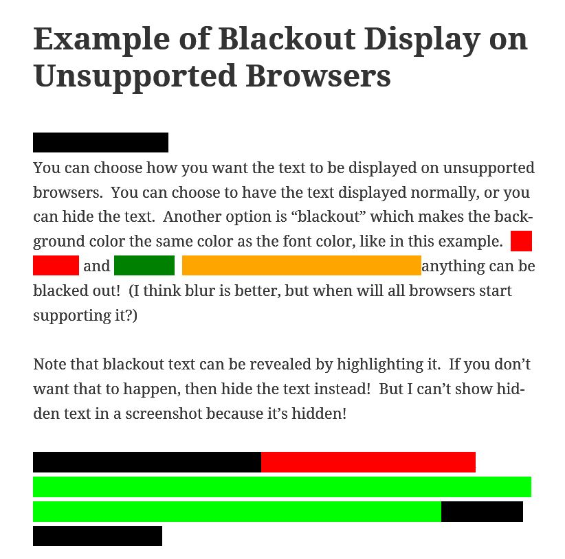 Blur Text WordPress Plugin Screenshot #2
