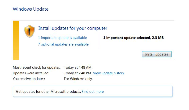Screenshot of Windows 7 Windows Update Box