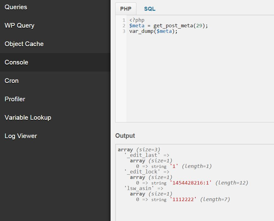 screenshot of debug bar console, wordpress plugin for developers