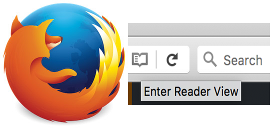 Screenshot of Firefox Reader View Button